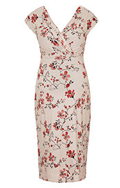 Bardot Maternity Shift Dress Cherry Blossom Red