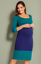 Colour Block Maternity Dress Biscay Blue