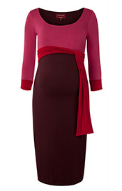 Colour Block Maternity Dress (Cherry Spice)
