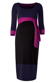 Colour Block Maternity Dress (Purple)