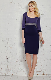 Colour Block Maternity Dress Wild Blueberry