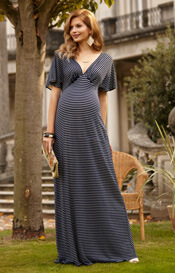 Celia Maternity Maxi Dress Navy Stripe