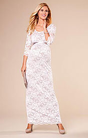 Charlotte Maternity Lace Gown Oyster Cream