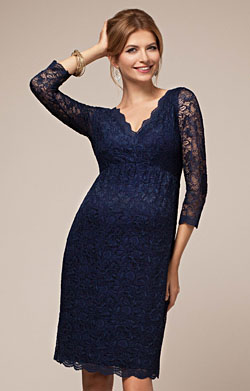Chloe Lace Maternity Dress Arabian Blue