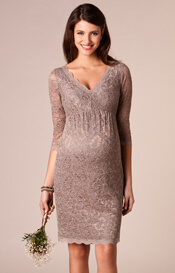 Chloe Maternity Lace Dress Mink