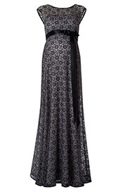 Daisy Maternity Gown Long (Black and Silver)