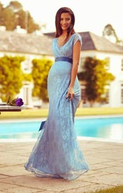 Eden Maternity Gown Long Dusk Blue