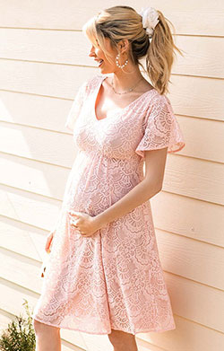 Edith Kimono Maternity Dress in Seashell Pink