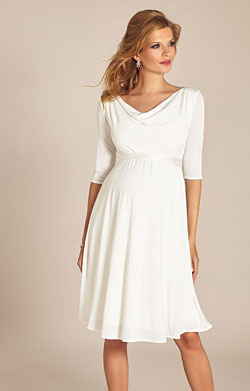 Elise Maternity Wedding Dress Short Ivory