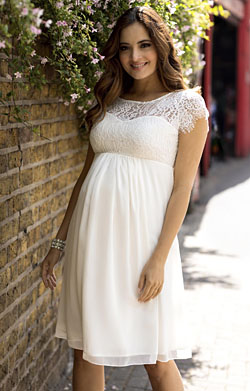 Elizabeth Maternity Wedding Dress Short Ivory
