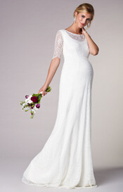 Evie Lace Maternity Wedding Gown Long Ivory White
