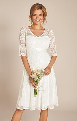 Flossie Maternity Wedding Dress Short Ivory