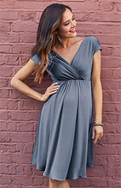 Francesca Maternity Dress (Steel Blue)