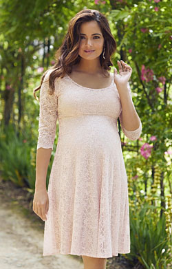 Freya Maternity Lace Dress in Pearl Pink