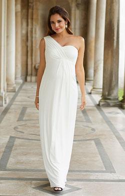 perfect maternity wedding dress -  one sleeve pregnancy dress