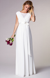 Georgette Maternity Wedding Gown Long Ivory