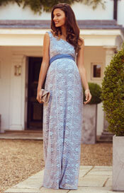 Gia Maternity Lace Gown Infinity Blue