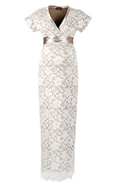 Grace Lace Maternity Dress Long (Ivory)