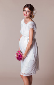 Harriet Maternity Dress Short Bright Ivory