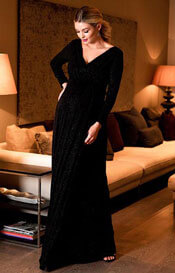 Isabella Long Maternity Gown with sleeves in Glitter Black
