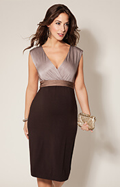Jewel Block Maternity Dress Coffee Bean
