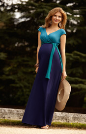 Jewel Block Maternity Maxi Dress Biscay Blue
