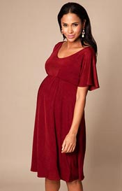 Kimono Maternity Dress short Berry Red