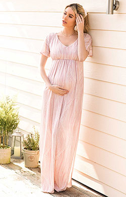 Kimono Maternity Maxi Dress Dotty Pink