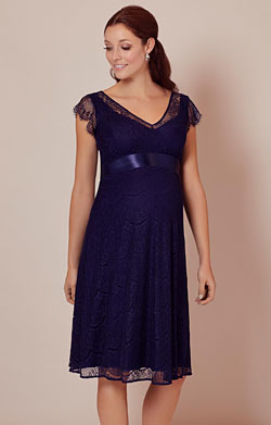 Kristin Lace Maternity Dress Indigo Blue