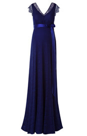 Kristin Maternity Gown Long Indigo Blue