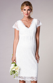 Laura Maternity Wedding Lace Dress Ivory