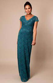Laura Maternity Gown Long Ocean Green