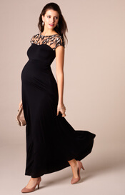 Marie Maternity Gown Long Vintage Noir