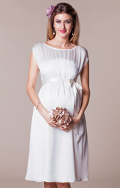 Maya Maternity Wedding Gown Short Ivory