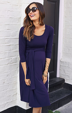 Naomi Maternity Nursing Dress Eclipse Blue