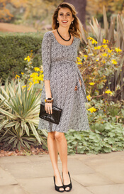 Naomi Maternity Nursing Dress Snow Leopard