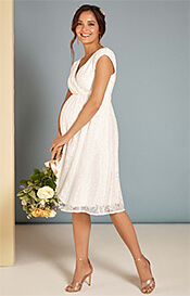 Nicola Maternity Lace Dress in Ivory