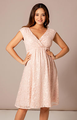 Nicola Lace Maternity Dress in Pearl Pink