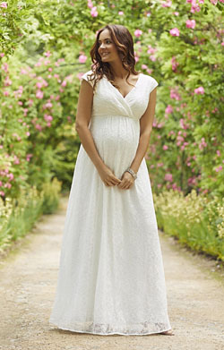 Nicola Lace Maternity Wedding Gown Long Ivory