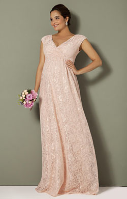 Nicola Maternity Lace Gown Pearl Pink