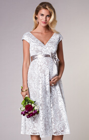 Orla Maternity Wedding Lace Dress Oyster Cream