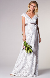 Orla Maternity Wedding Lace Gown Oyster Cream