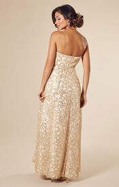 Olivia Gown Long Champagne Shimmer