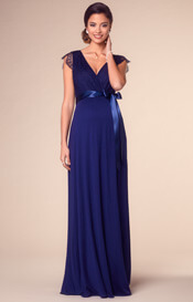 Rosa Maternity Gown Long Indigo Blue