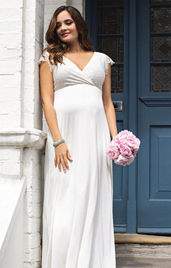 Rosa Maternity Wedding Gown Long Ivory White