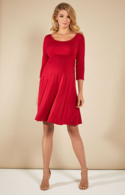Samantha Maternity Dress Short Ribbon Red