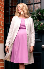 Sienna Short Maternity Dress With Sleeves In Lilac Pink