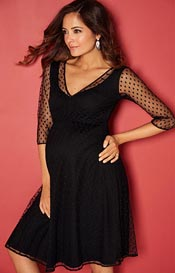 Silvia Maternity Dress (Polka Dot Black)