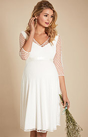 Silvia Polka Dot Maternity Dress Ivory
