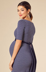 Tilly Shift Maternity Dress Navy Stripe